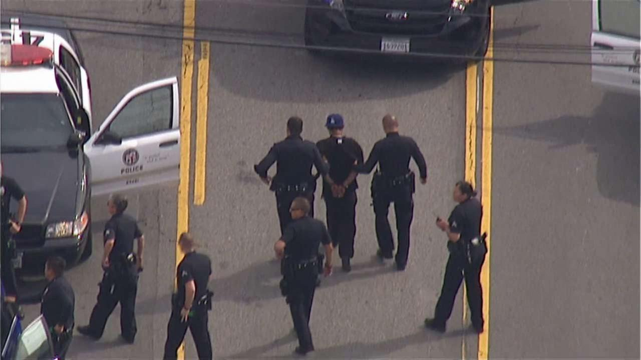 A suspect is in custody after leading police on a wrong-way chase in North Hollywood Monday, Sept. 21, 2015.