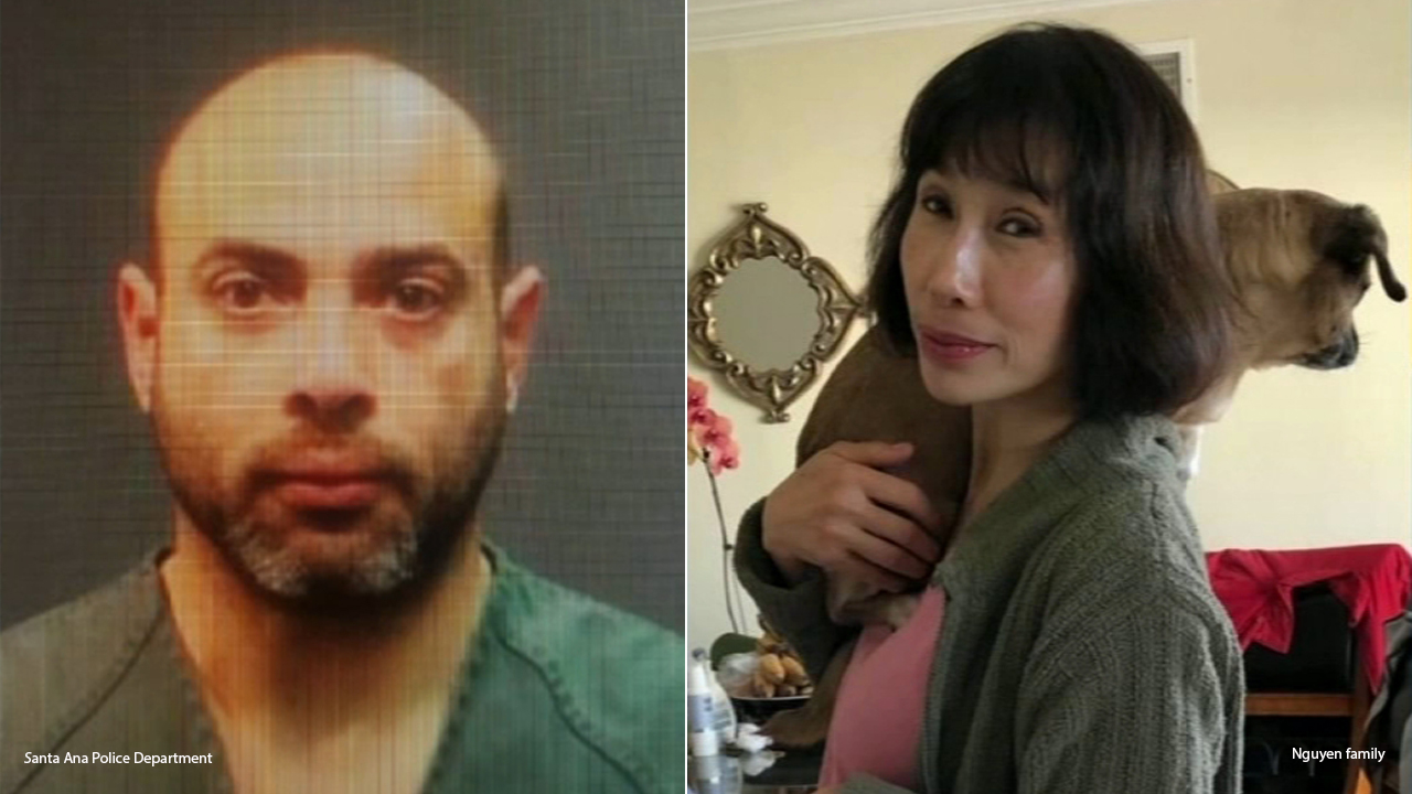 A split image shows Ahmad Allasad alongside a photo of Thuy Nguyen, both suspected of being the two people found dead after a house fire in Santa Ana on New Years Day 2019.