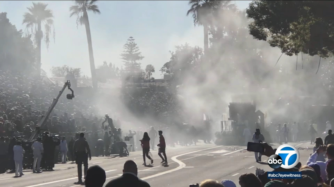 A small fire erupted on a Rose Parade float Tuesday, Jan. 1, 2019, as the annual procession was making its way through Pasadena.