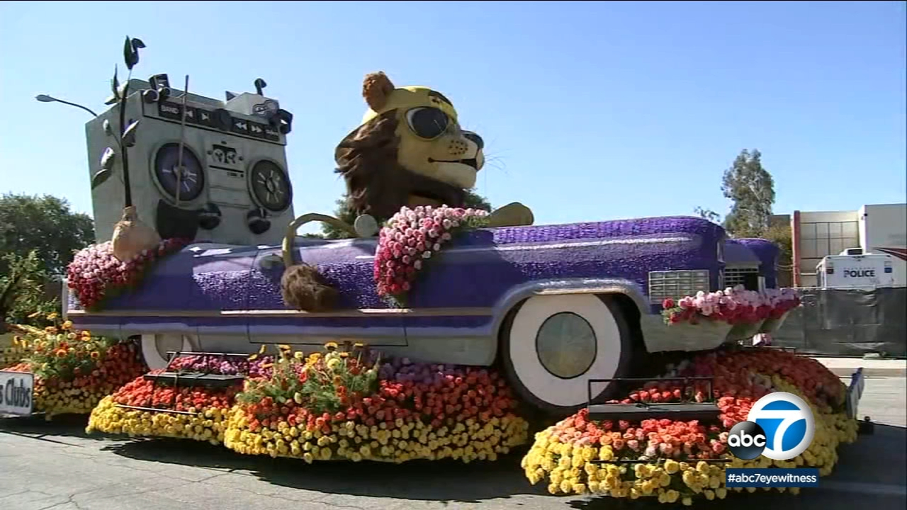 A float from the 2019 Rose Parade is on display for a public viewing.