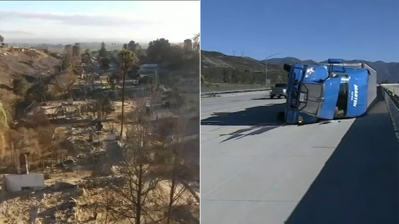 Even big rigs were no match for the powerful winds slamming parts of Southern California New Years Day, and the fierce conditions are raising concern for potential fires.
