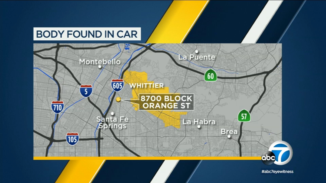 A womans body was in the backseat of a car bound and wrapped in plastic in the driveway of a Whittier home for a week before she was found.