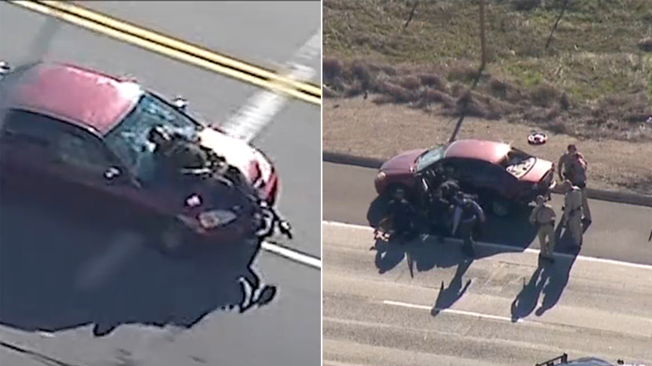 A split image shows a chase suspect being taken into custody after running over a scooter rider during a chase that stretched from L.A. to San Diego County Thursday, Jan. 3, 2019.