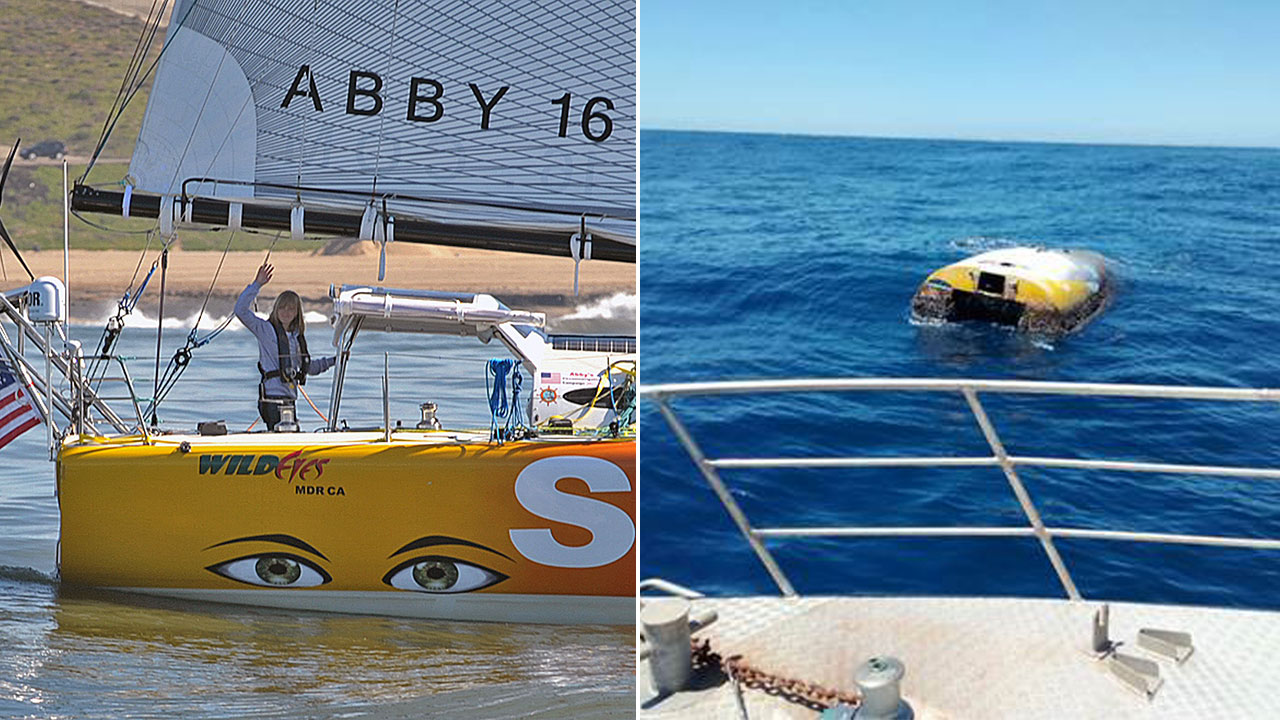 Left: Abby Sunderland on her sailboat before her world-record attempt trip in 2010. (Right) This Jan. 2019 photo from South Australia Police shows the upturned sloop off Australia.