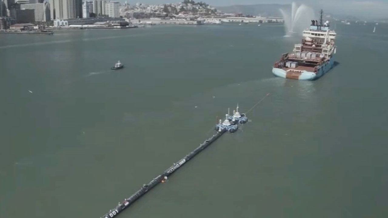 The Great Pacific Garbage Patch is seen being towed back to shore.
