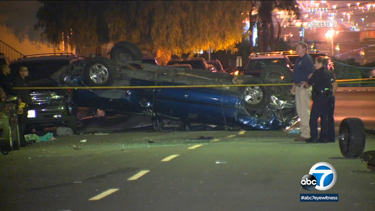 A driver was ejected and killed after slamming into several parked cars in San Pedro on Sunday, Jan. 6, 2019.
