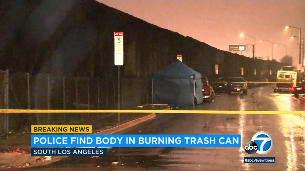 Homicide detectives are investigating the circumstances surrounding a human body found charred in a trash can fire in South Los Angeles on Monday, Jan. 7, 2019.