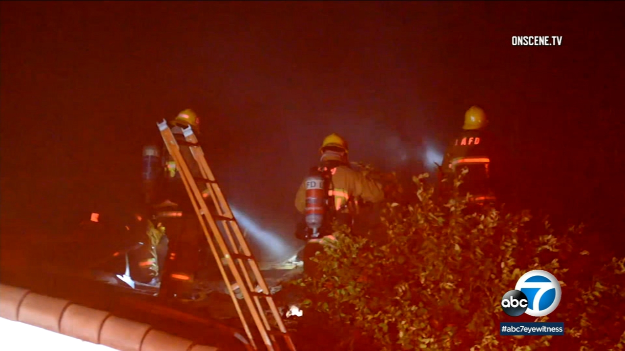 Two people are injured, one critically, following a fire at a home in West Hills Monday, Jan. 7, 2019.