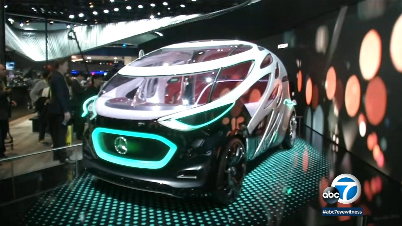 A Mercedes-Benz electronic vehicle is shown at the 2019 Consumer Electronics Show in Las Vegas.