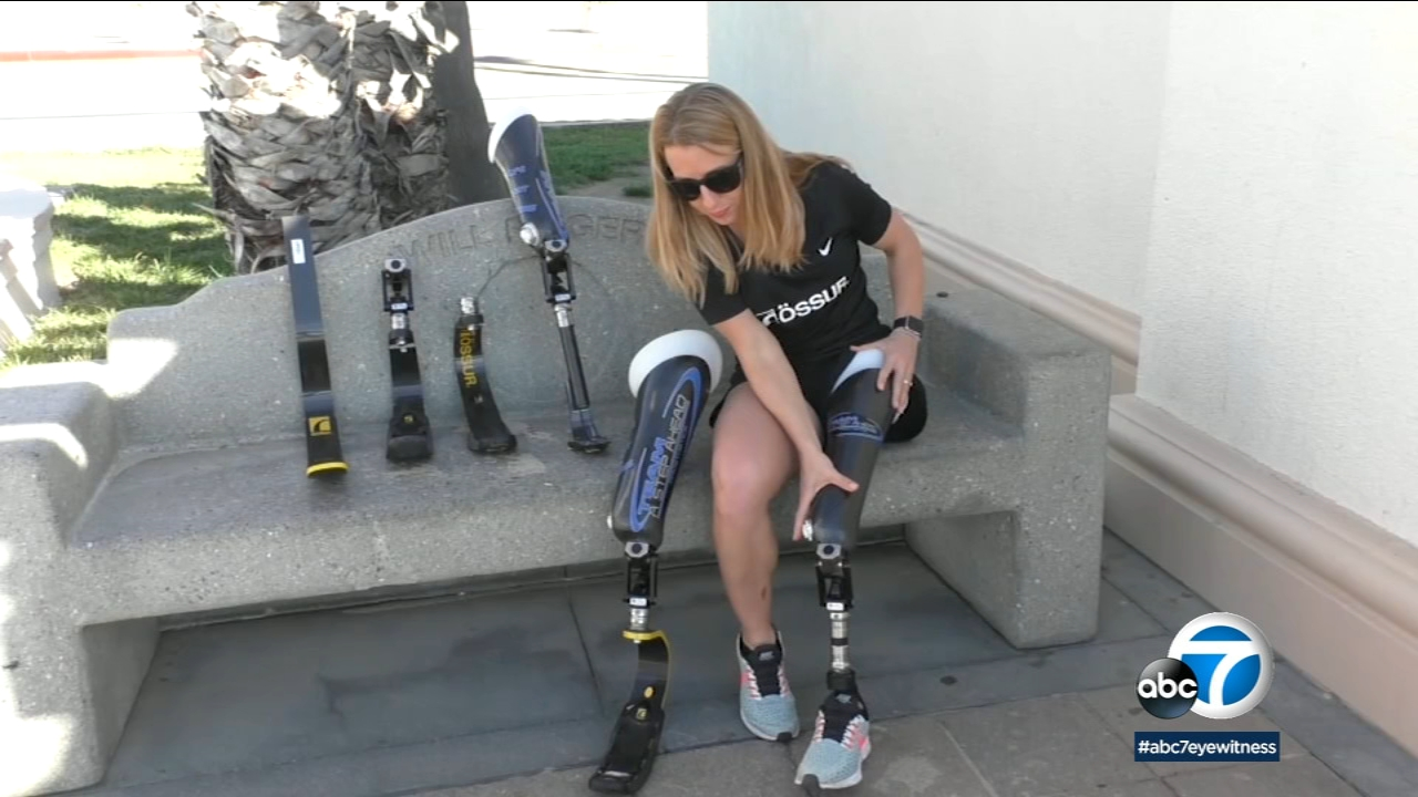Triathlete Sarah Reinertsen uses different prosthetics for different athletic events.