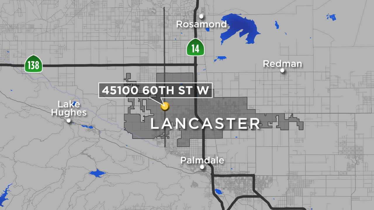 A map shows the location in Lancaster, where Los Angeles was planning to retrofit an immigration detention center as a womens jail.