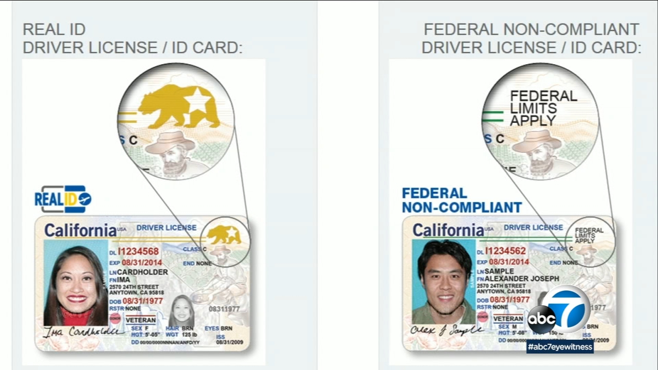 An image shows the difference between a Real ID and a California drivers license.