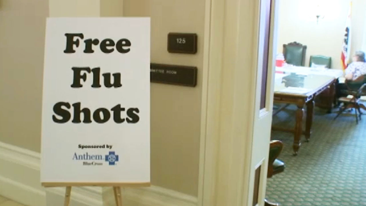 A flu shot sign is see in this undated photo.
