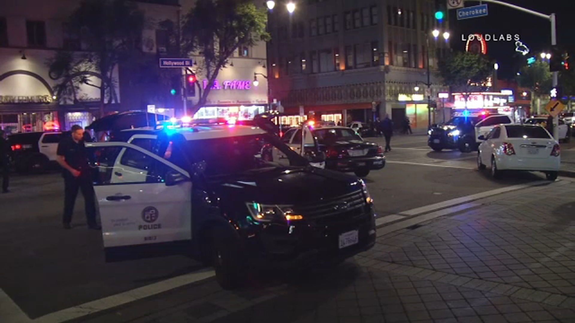Hollywood Boulevard was filled with police as a chase came to a crashing end in the Hollywood area Saturday, Jan. 12, 2019.