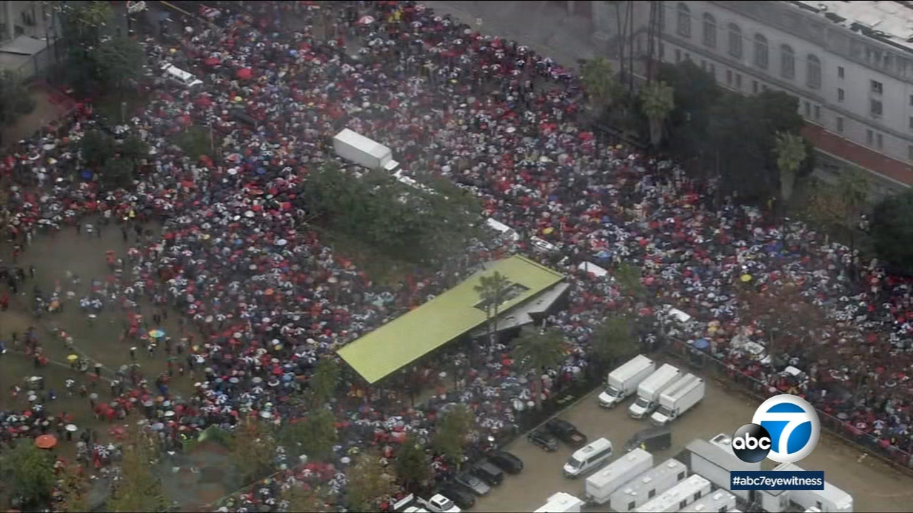A sea of Los Angeles Unified School District teachers and supporters marched to push for reinvestment in education on their first day of a historic strike Monday, Jan. 14, 2019.