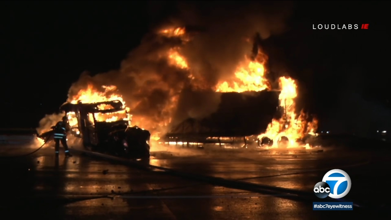 A truck crashed and caught on fire on the 10 Freeway in Colton Tuesday, Jan. 15, 2019.