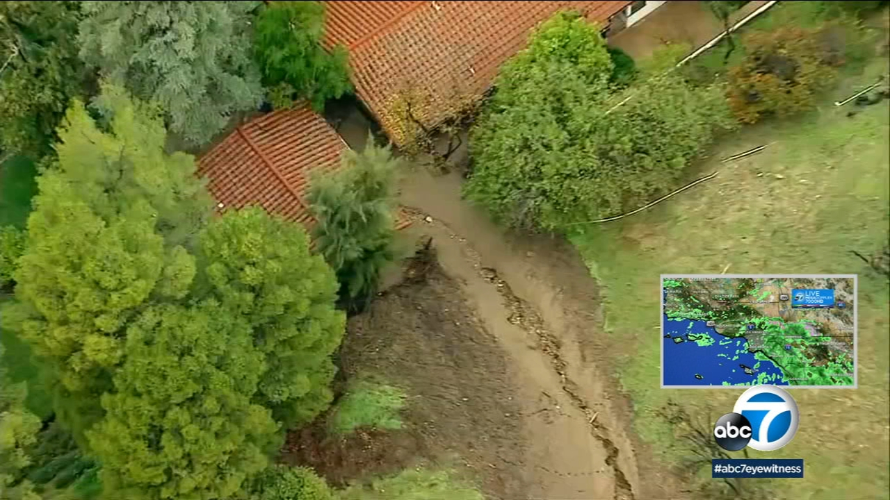 Video shows a mudslide in Encino that hit a neighborhood home and guest house on Monday, Jan. 14, 2019.