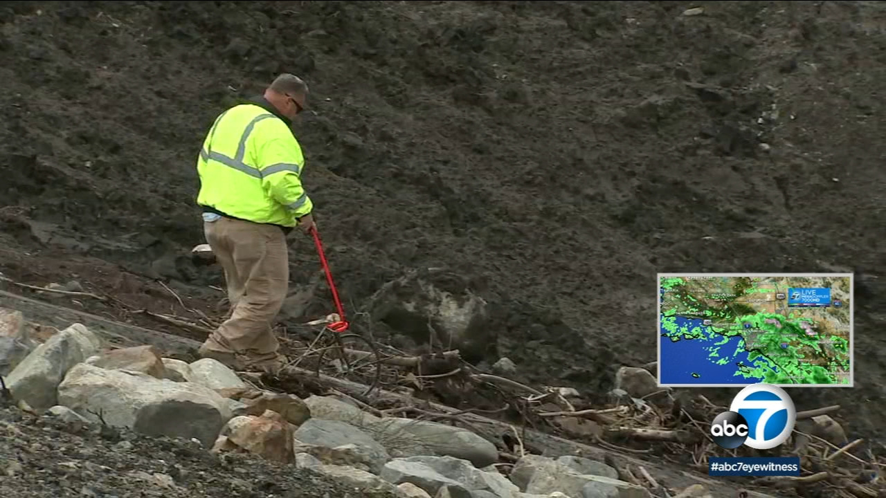 Mudflow is seen in the Holy Fire burn area Tuesday, Jan. 15, 2019, as more rain is expected in the Southland.