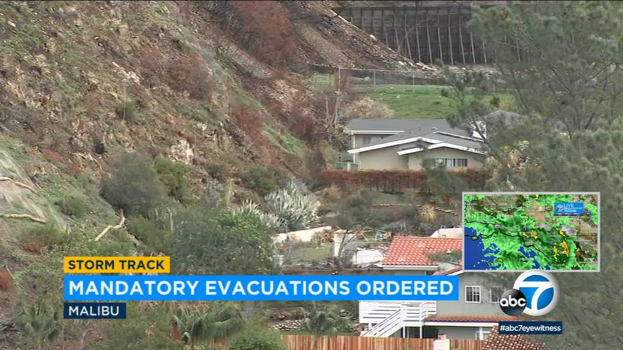 A neighborhood in Malibu is seen empty amid evacuation orders due to a rainstorm in Southern California.