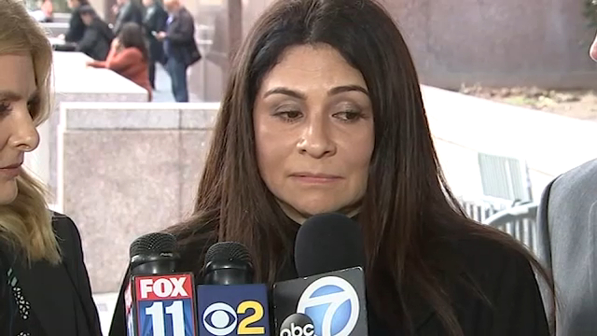 Los Angeles Police Department Detective Ysabel Villegas speaks outside a courthouse about a revenge porn scandal that rocked the LAPD.