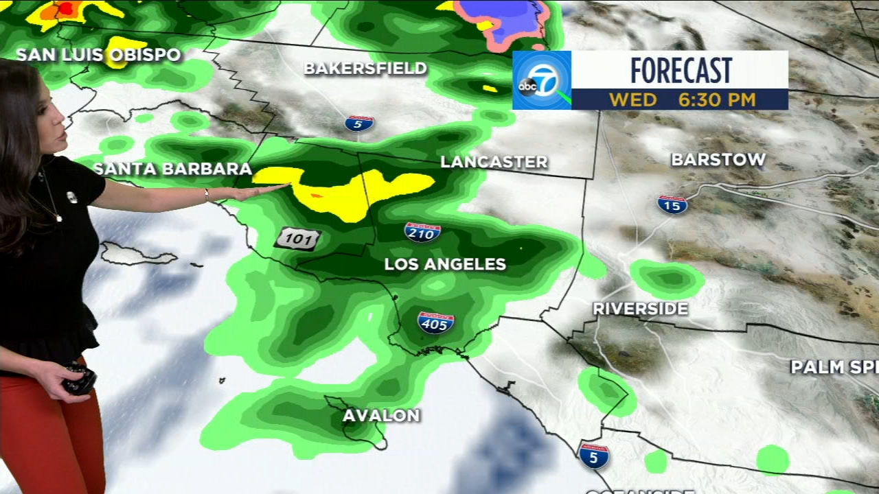 A map shows rain cells moving across Southern California on Wednesday, Jan. 16, 2019.