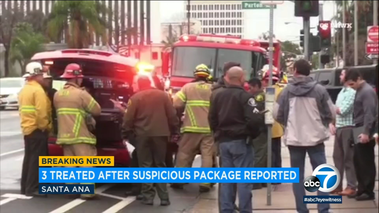 Firefighters treated four patients including a sheriffs deputy at the courthouse in Santa Ana after a package was opened that made them feel ill, officials said.