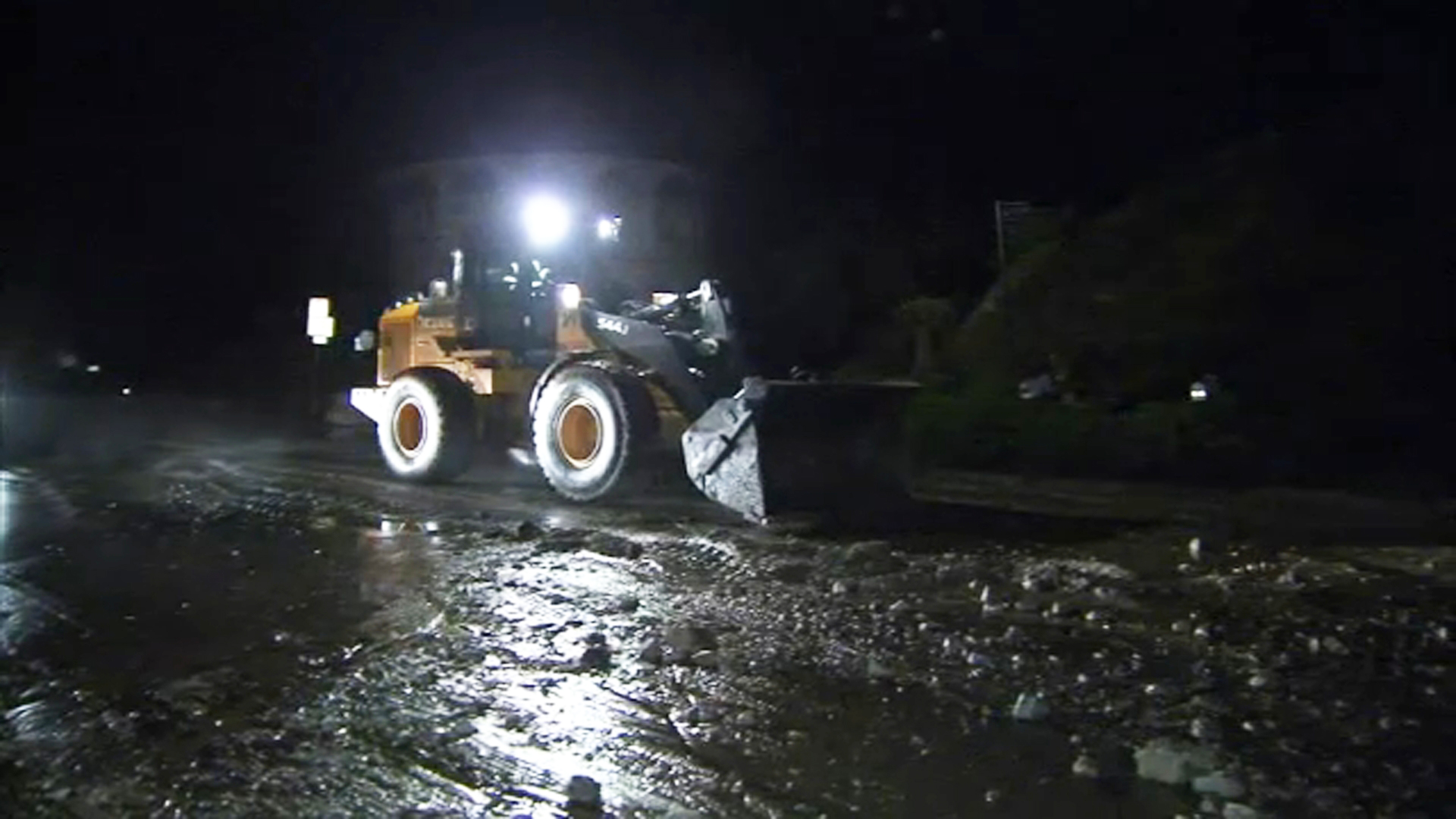 A portion of La Tuna Canyon Road was shut down Wednesday, Jan. 17, 2019, due to rocks and debris flow on the roadway.