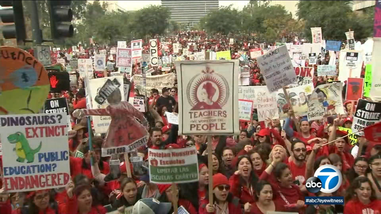 Thousands join a rally to support the LAUSD teachers strike on Friday, Jan. 18, 2019.