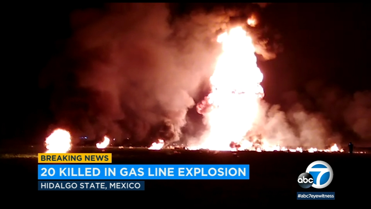 A huge fire exploded at a pipeline leaking fuel in central Mexico on Friday, Jan. 18, 2019.