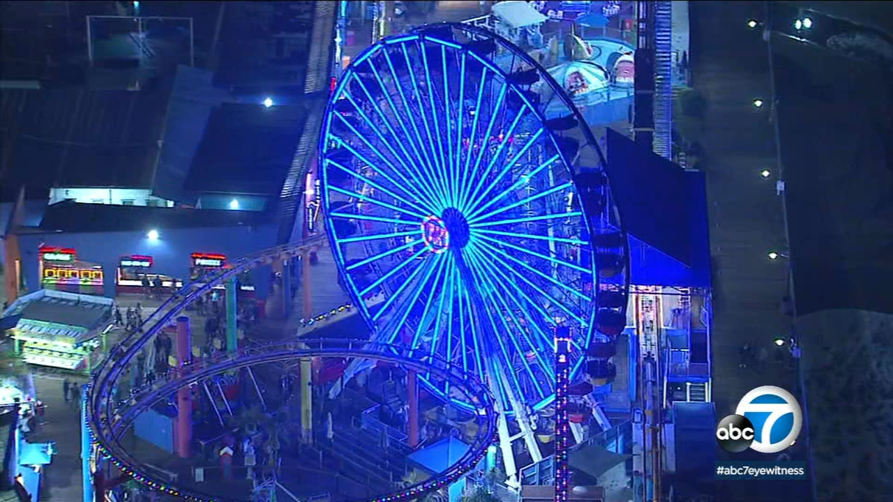 AIR7 HD captured bright aerial shots of the ferris wheel at Santa Monica Pier as it lit up in blue to show support for the Rams.