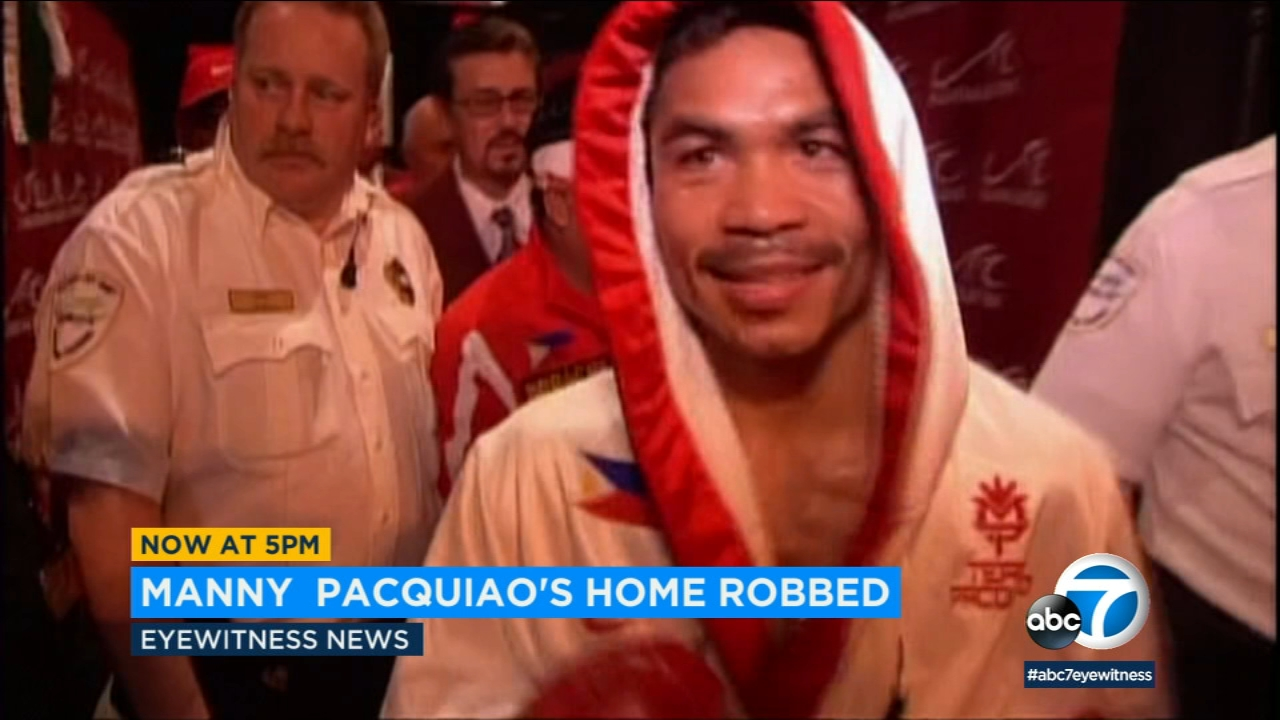 Thieves targeted the Los Angeles home of boxer Manny Pacquiao while he was fighting in Las Vegas.