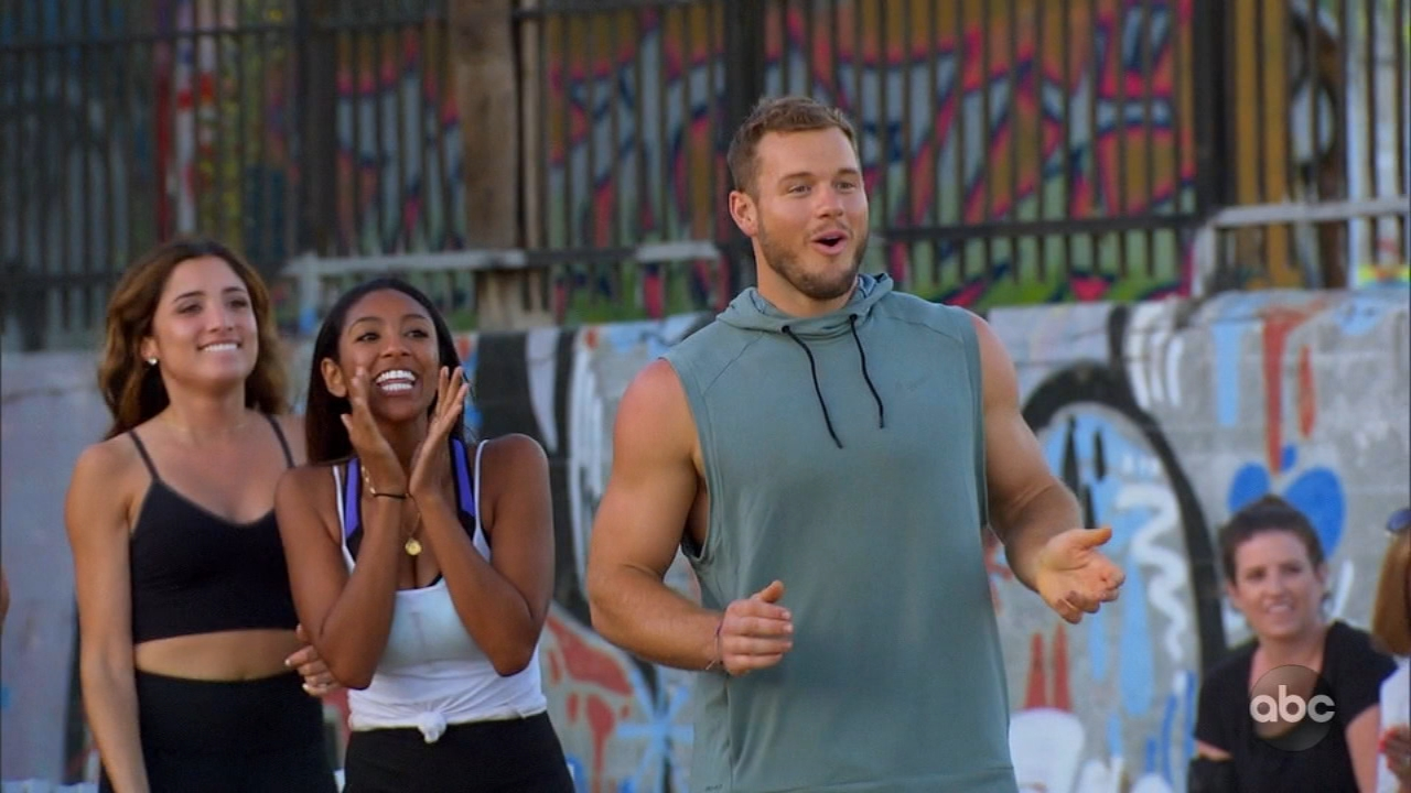 On this weeks The Bachelor, the ladies have a strongest woman competition with help from Terry Crews and Fred Willard.