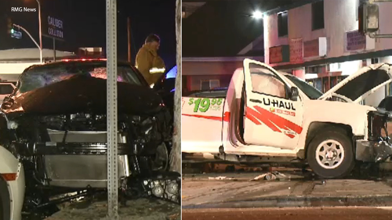 A police chase involving a U-Haul truck ended in a crash in downtown Los Angeles Sunday, Jan. 21, 2019.