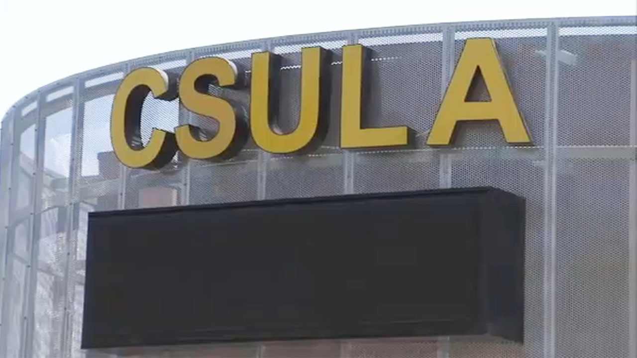 A file photo shows a sign for California State University, Los Angeles.