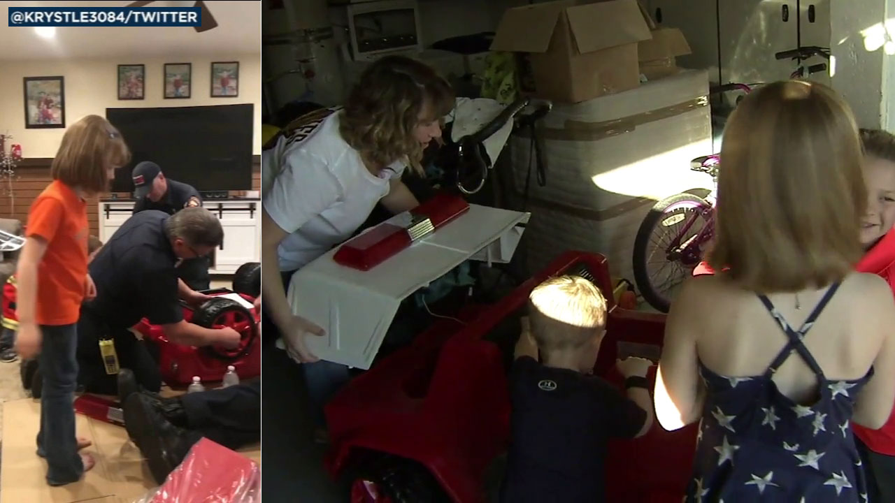 Los Angeles County firefighters stationed in Cerritos helped build a firetruck for three kids whose family has been affected by the government shutdown.