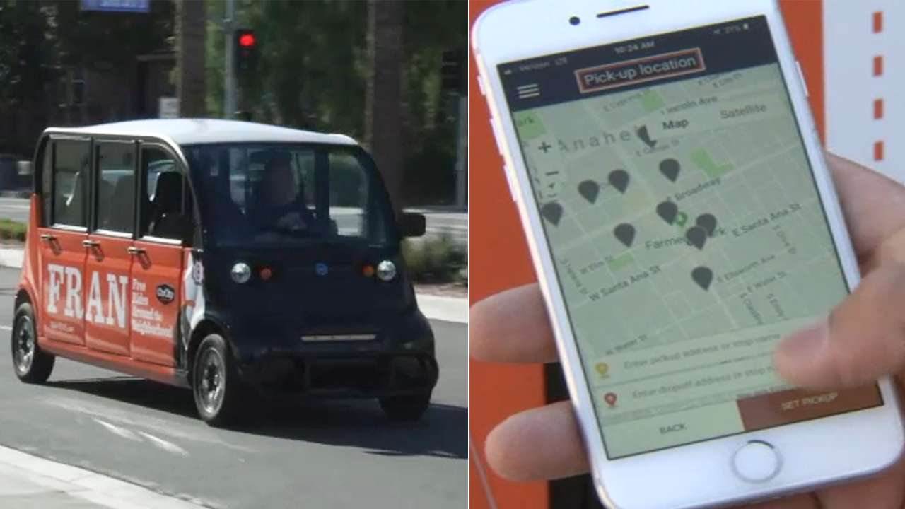 Anaheim unveiled its new, unique app-based electric vehicle system Free Ride Around the Neighborhood, also known as FRAN.