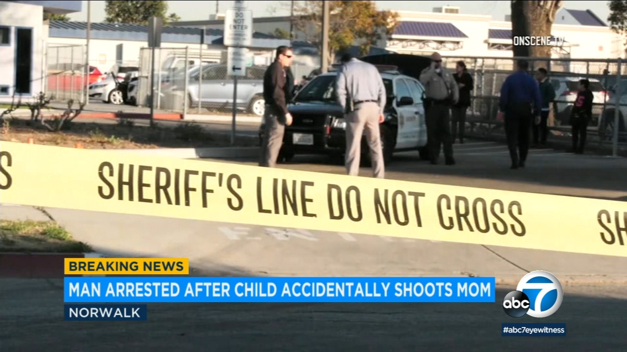 Crime tape surrounds the scene of an accidental shooting where a child got hold of a shotgun and shot his mom outside of a Norwalk preschool on Wednesday, Jan. 23, 2019.