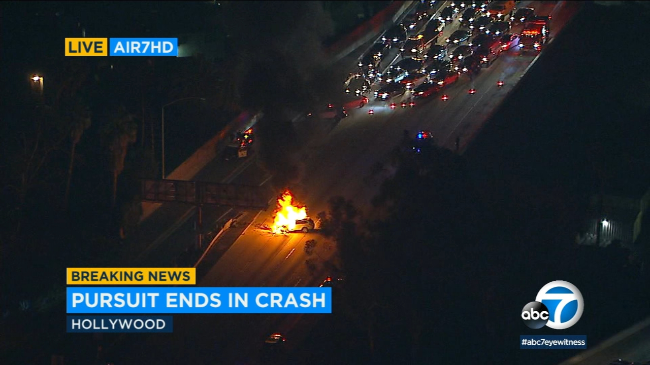A police chase ended with a fiery wreck Monday night that blocked northbound lanes of the 101 Freeway in Hollywood.