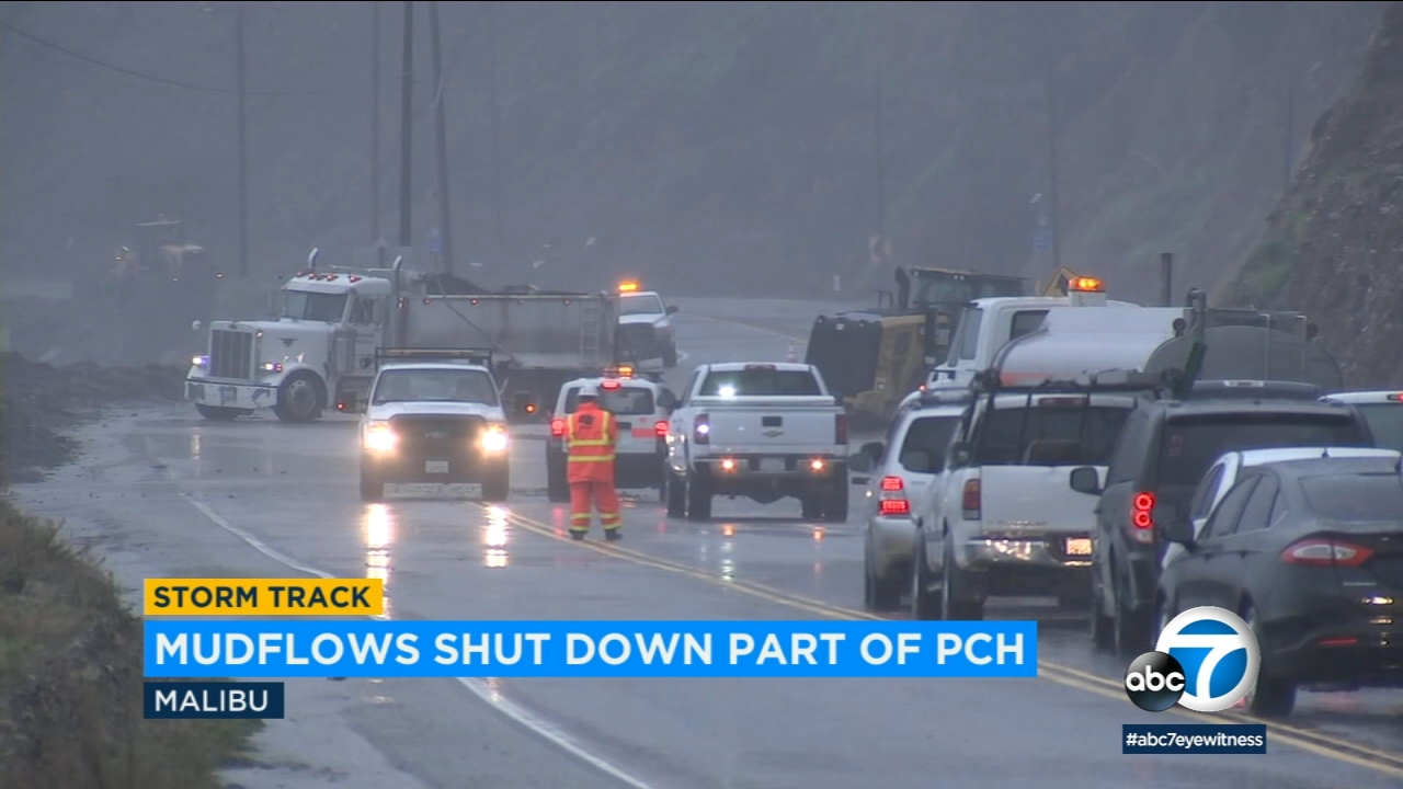 As the first in a series of storms moved into the Southland on Thursday, lightning, mudslides and flooding led to road and beach closures in Los Angeles County.