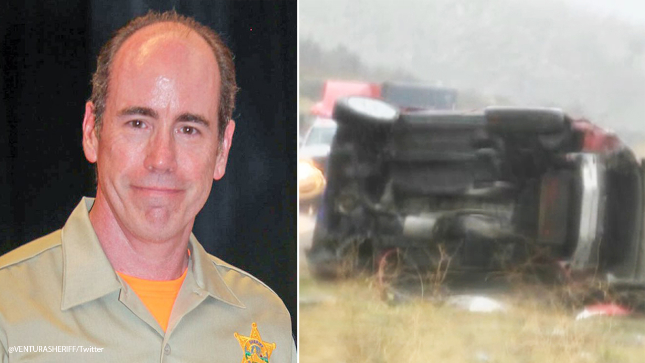 A split photo shows Jeff Dye, a Ventura County search-and-rescue team member killed in a crash while assisting victims in another wreck on Saturday, Feb. 2, 2019.