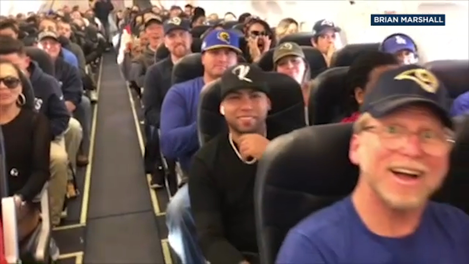 A Spirit Airlines flight carried a plane full of die-hard Los Angeles Rams fans heading to the Super Bowl from LAX to Atlanta.