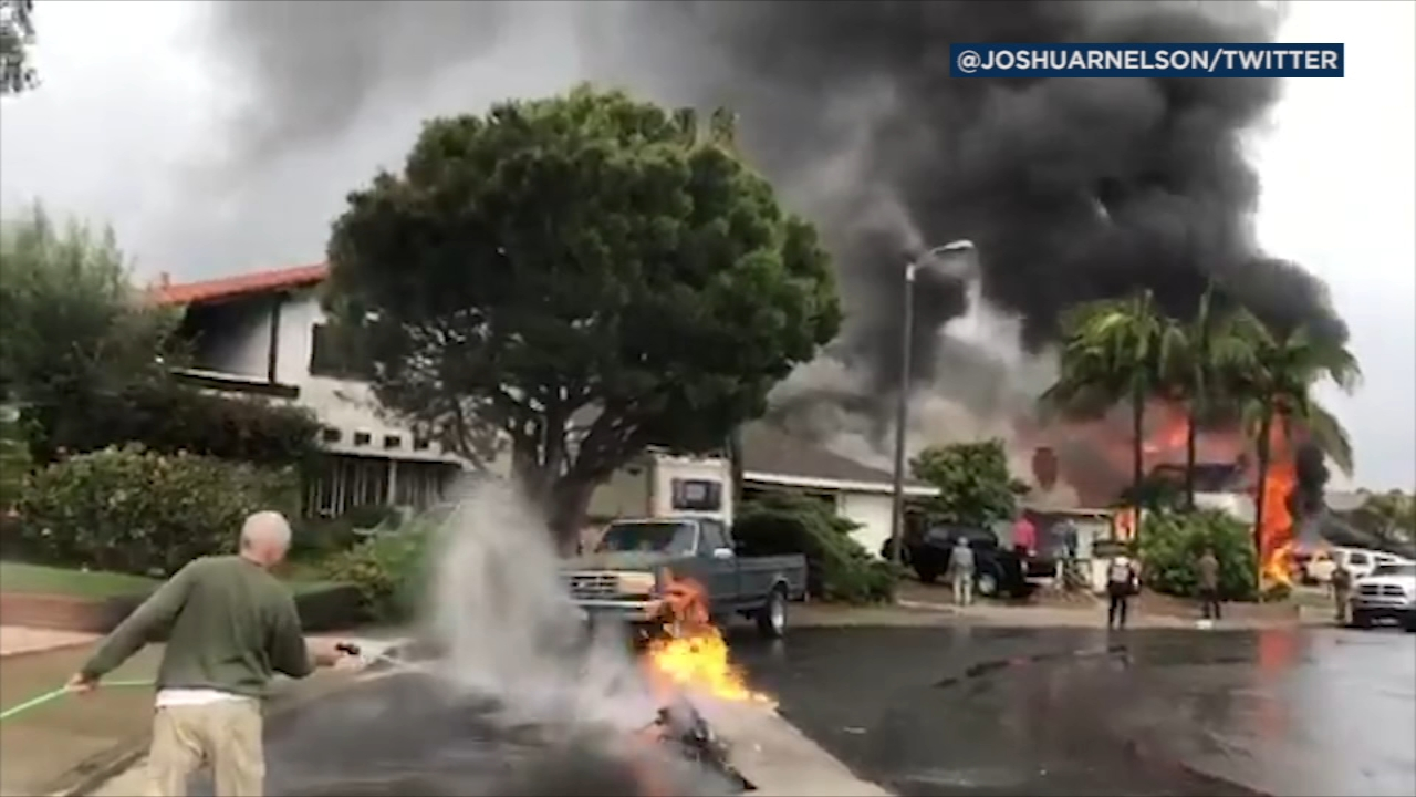 Firefighters on Sunday afternoon were responding to two house fires amid reports of a small plane crash in Yorba Linda, authorities said.