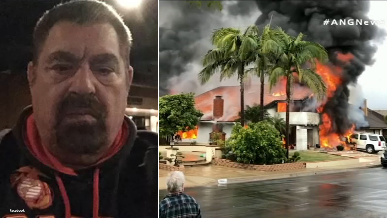 A split image shows Antonio Pastini, a retired Chicago police officer who was killed when he crashed a plane into a home in Yorba Linda, killing four others on Feb. 3, 2019.