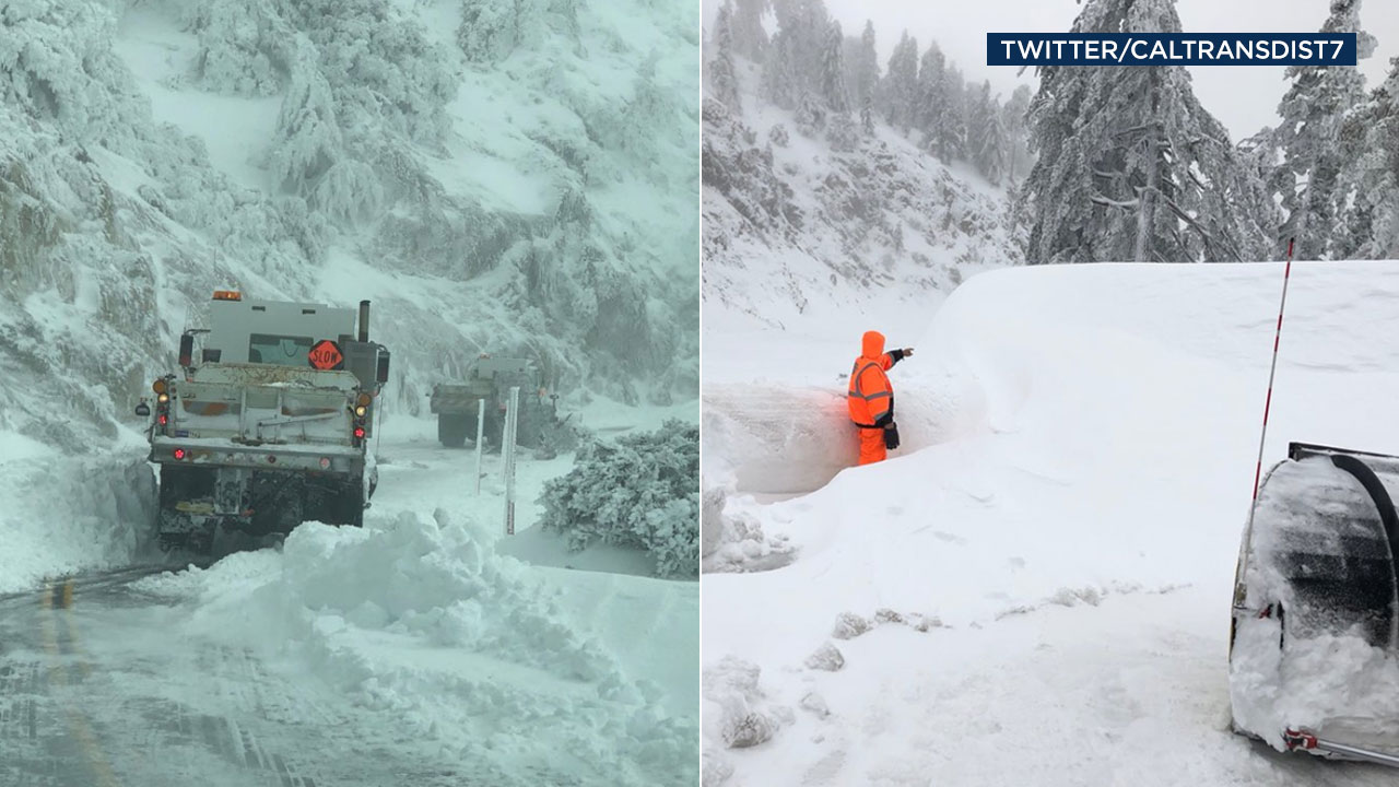 Caltrans shared these photos of snow along the Angeles Crest Highway.