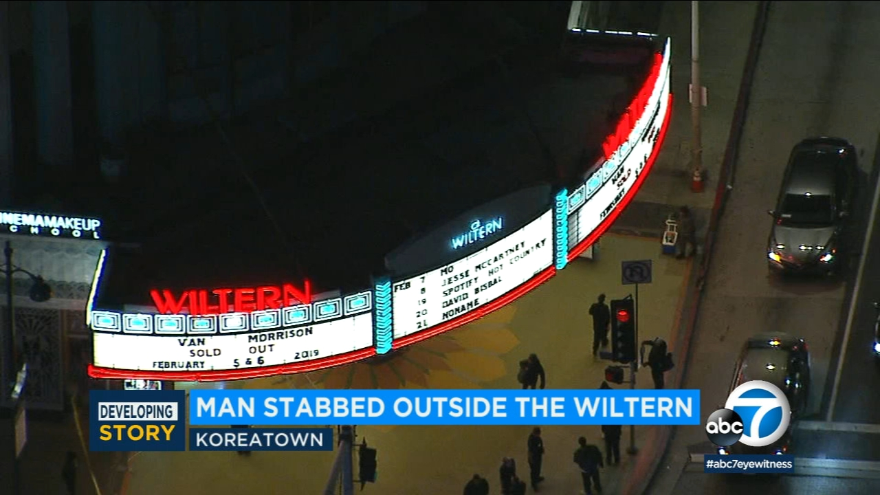 The Wilterns marquee is seen in Koreatown on Tuesday, Feb. 6, 2019.