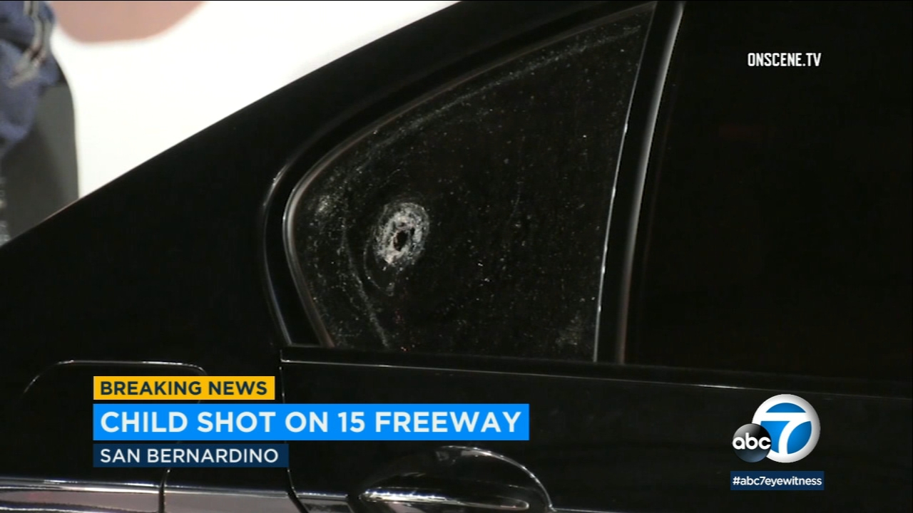 A 10-year-old boy is in the hospital after being shot in the head on the 15 Freeway in Phelan Thursday night.
