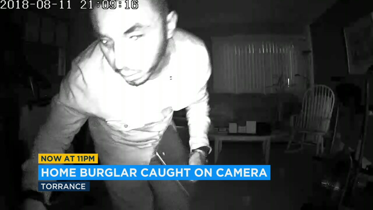 Police are looking for this man seen on home surveillance video stealing a laptop from a Torrance home while the residents were in another room.
