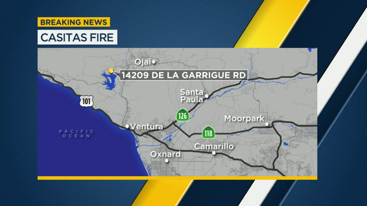 The Casitas Fire burned through at least 15 acres Sunday in Ojai as two firefighters suffered minor injuries.