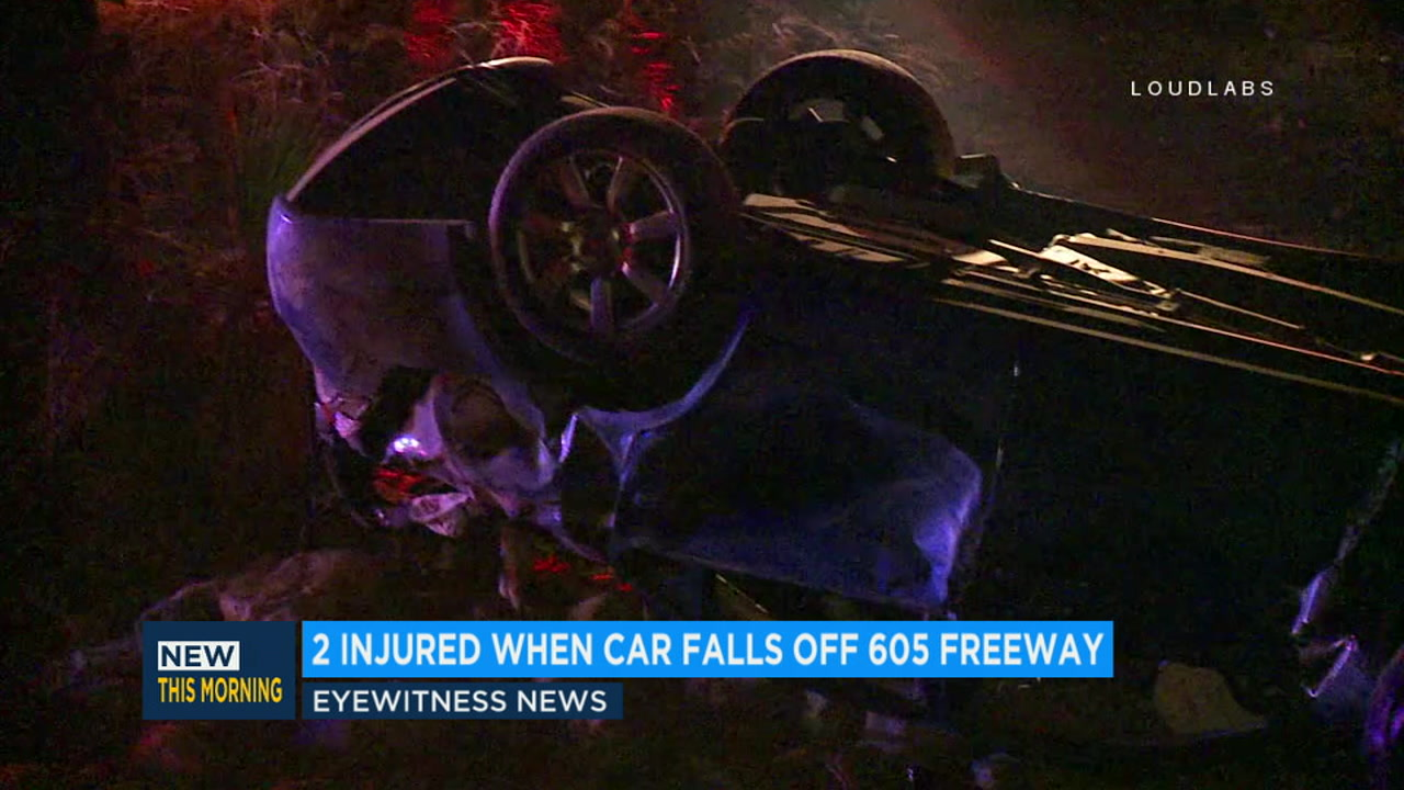2 injured after car plummets 50 feet off freeway in Baldwin Park