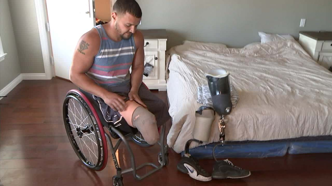 Marine veteran Matt Grashen is seen in his new house, built with the help of the nonprofit group, Homes for our Troops.